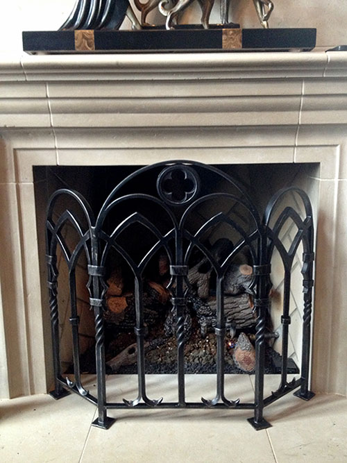 Forged Fireplace Screens : Fireplace screen handmade tools hand forged