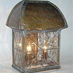 Abbey Lantern in Aged Textured Bronze with Star Grid Pattern